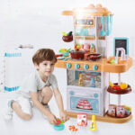 Children simulation electric spray kitchen toys sets cooking toys with (3)