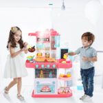 Children simulation electric spray kitchen toys sets cooking toys with (4)