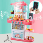 Children simulation electric spray kitchen toys sets cooking toys with wate